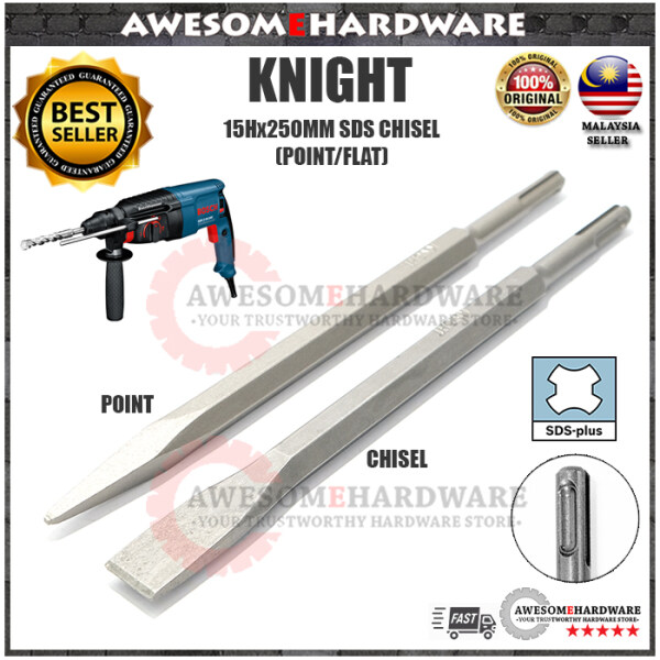 (POINT / FLAT) KNIGHT SDS 15x250MM BULL POINT CHISEL FOR ROTARY HAMMER DRILL