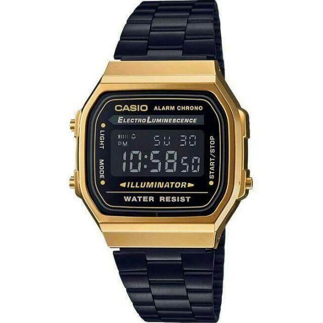 Casio B168 Petak Black Gold Digital Elegant Malaysia