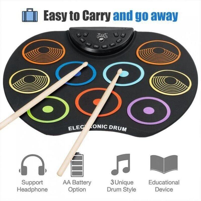 Điện Tử Kỹ Thuật Số USB 9 Pads Đầy Màu Sắc Cuộn Lên Bộ Silicone Điện Drum Kit Với Dùi Trống & Duy Trì Bàn Đạp