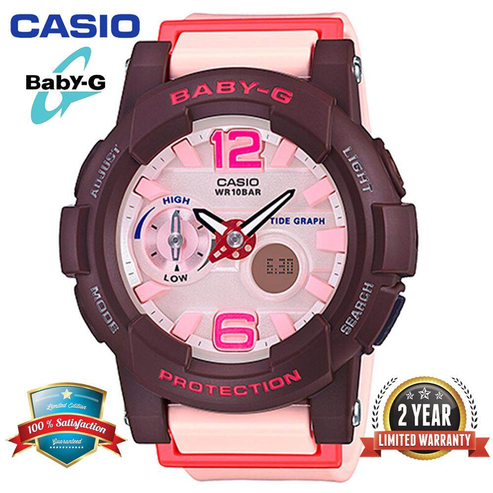 (Ready Stock) Original Baby G BGA180 Women Sport Watch Duo W/Time 100M Water Resistant Shockproof and Waterproof World Time LED Light Girl Wist Sports Watches with 2 Year Warranty BGA-180-4B4PR Pink Malaysia