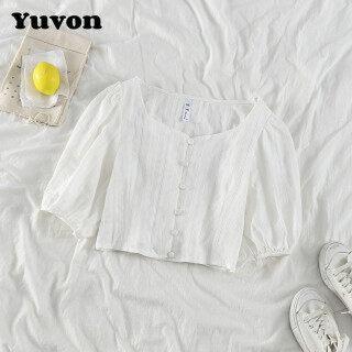 Yuvon Áo Croptop Ngắn Tay Cổ Vuông Có Hàng Cúc Ở Giữa Phong Cách Mùa Hè Dành Cho Nữ - INTL thumbnail