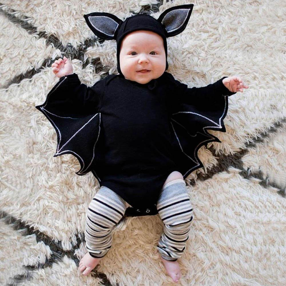 [HUADOAKA]Toddler Newborn Baby Boys Girls Halloween Cosplay Bat Costume Romper Hat Outfits Set