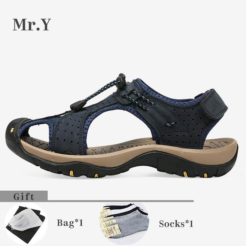 Mr.y Sport Sandals Genuine Leather Hiking Shoes Outdoor Sandals Men Slippers Casual Beach Kasut Lelaki (black,brown,khaki,blue) By Mr.y.