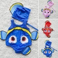 2 Chiếc Kids Baby Girl Áo Tắm Cá Vàng Đồ Bơi Trang Phục Bơi + Mũ Bơi