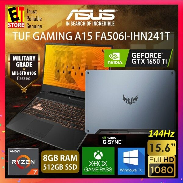 ASUS TUF GAMING A15 FA506I-IHN241T GAMING LAPTOP (RYZEN R7-4800H/8GB/512GB SSD/15.6 FHD 144HZ/4G GTX 1650 Ti/W10/2YRS) + BAG Malaysia