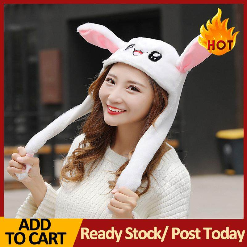 d3817ad4981 Autumn Winter Cute Warm Women Outdoor Fluffy Movable Prick-eared Rabbit  Ears Earmuffs Hat Cap