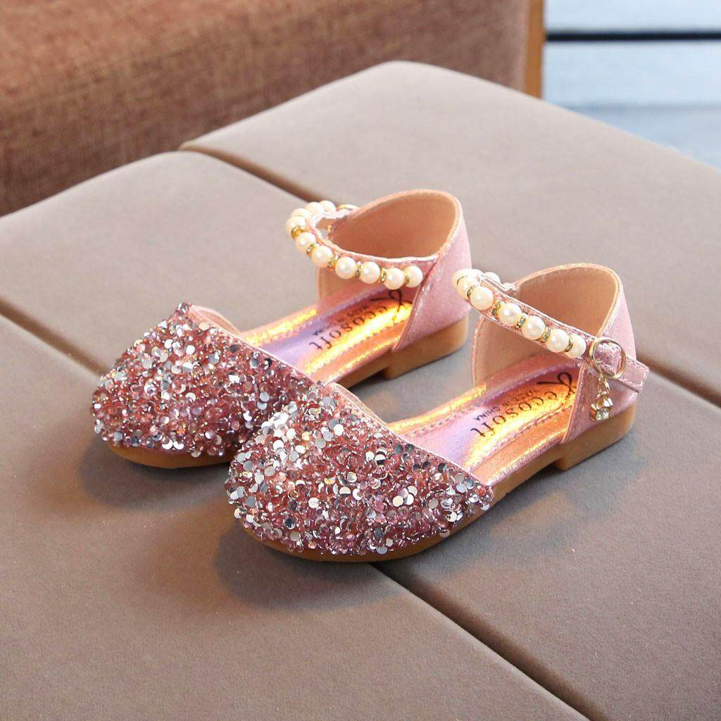 f35e3dc69ad1 viviroom-Toddler Infant Kids Baby Girls Pearl Bling Sequins Single Princess  Shoes Sandals