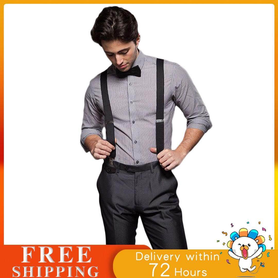 黑色 Elastic Suspender Men X-Shape Braces 3.5cm Width,Adjustable 4 Clips Belts Clip-on Braces