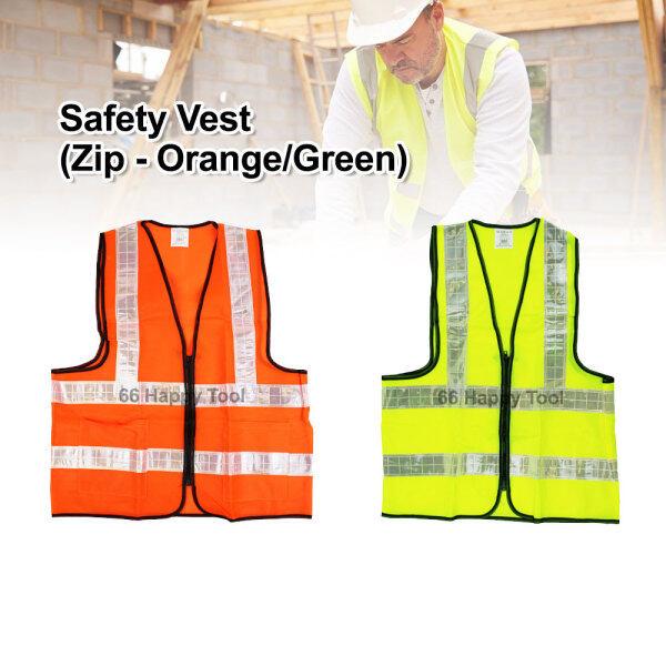 Safety Vest With White Reflective Strip Zip High Visibility Coat Closure Netting Jaket Keselamatan