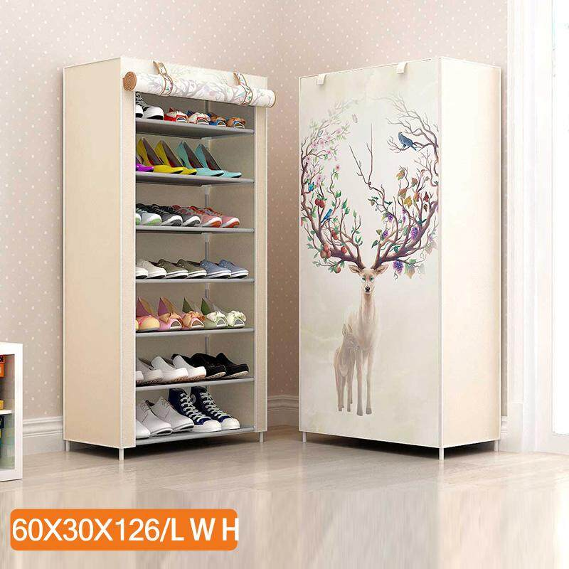 RuYiYu - 7-Tier Shoe Rack with Dustproof Cover Closet Shoe Storage Cabinet Organizer, 21 Pair of Shoes