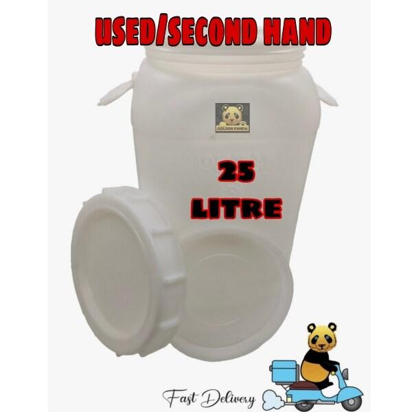 [USED] 25L HDPE White Square Plastic Drum/ Open Top