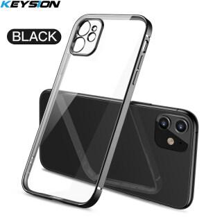 KEYSION Ốp lưng mạ khung vuông trong suốt mỏng mềm bảo vệ toàn diện cho điện thoại iPhone - INTL thumbnail