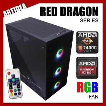 ARTIDEA 80G GHOST RED DRAGON GAMING PC ( RYZEN 5 2400G / A320M-K / 8GB 2666MHz RAM / RX 580 RED DRAGON 8GB / 120GB SOLID STATE DRIVE / FSP 600W 80+ PSU )