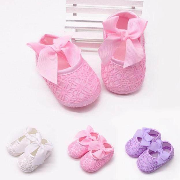 Giày nơ lớn đế bằng cho bé gái 0-12 tháng 3 màu sắc khác nhau để lựa chọn - I Love Daddy & Mummy - INTL giá rẻ