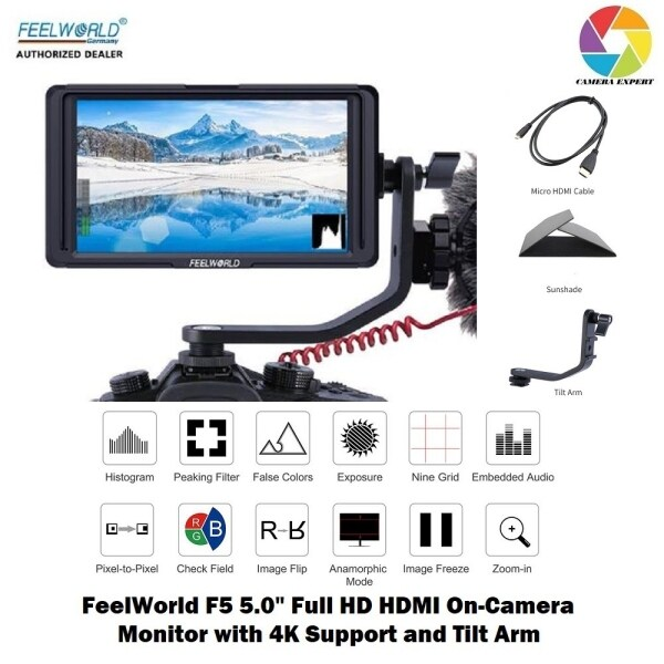 FeelWorld F5 5.0 Full HD HDMI On-Camera Monitor with 4K Support and Tilt Arm Malaysia