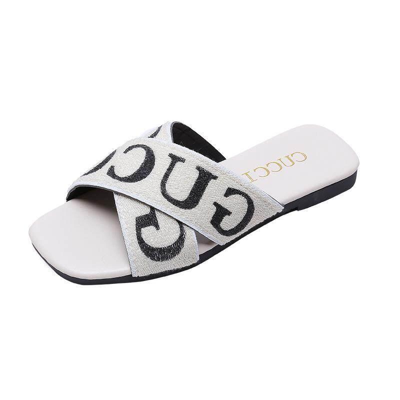 bd1da3b6cf33 YOHO Korean-style Slide Sandals Female 18 Summer New Style Square Flat  Elastic Jiao Cha