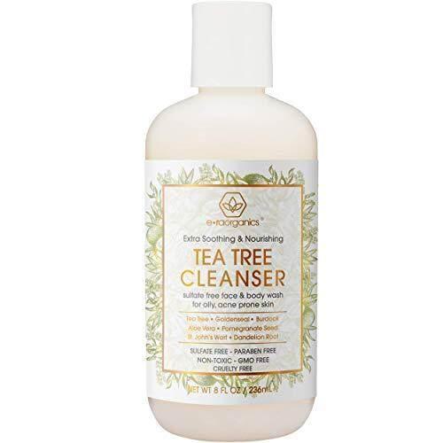 Era Organics Tea Tree Oil Face Cleanser - Face & Body Wash for Dry, Oily, Acne Prone Skin Care & Rosacea 8oz Natural & Organic Facial Wash to Moisturize, Nourish, Soothe Redness & Inflammation 8oz Era-Organics