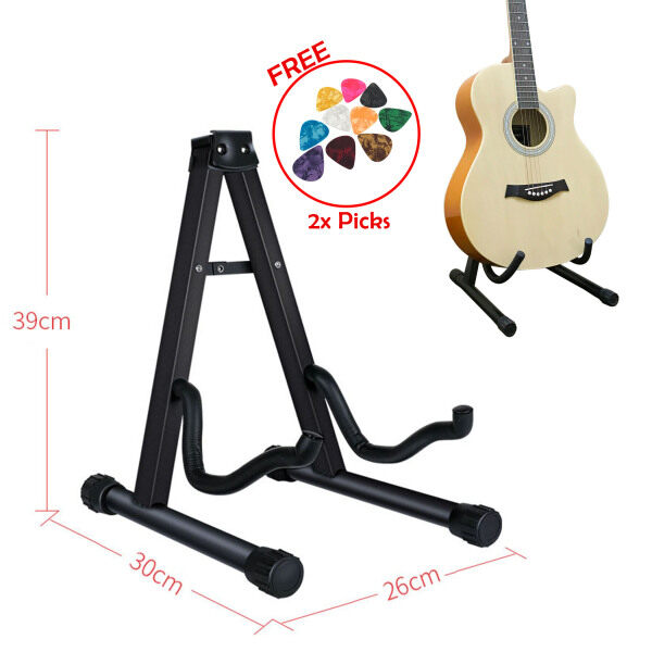 Guitar Stand A Frame Foldable for Electric, Acoustic, Bass Guitar & Ukulele (FREE 2 Celluloid Guitar Picks) Malaysia