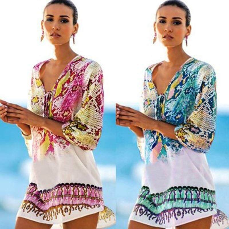 2e578f9f7f Swimsuit Cover Beach 2019 Beach Tunic Beach Cover Up Print Snake Robe De  Plage Cover Up