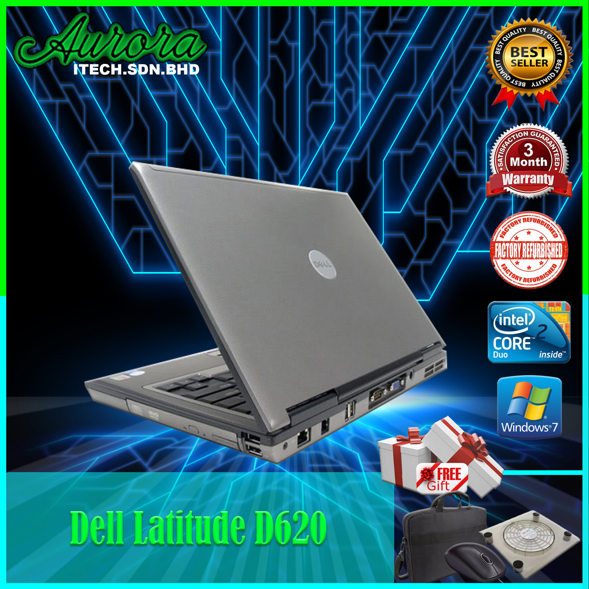 (REFURBISHED)DELL LATITUDE D620 / INTEL CORE 2 DUO T7250 / 2 GB DDR2 RAM / 80 GB SATA HDD / 14.1 INCH LCD / 3 Months Warranty Malaysia