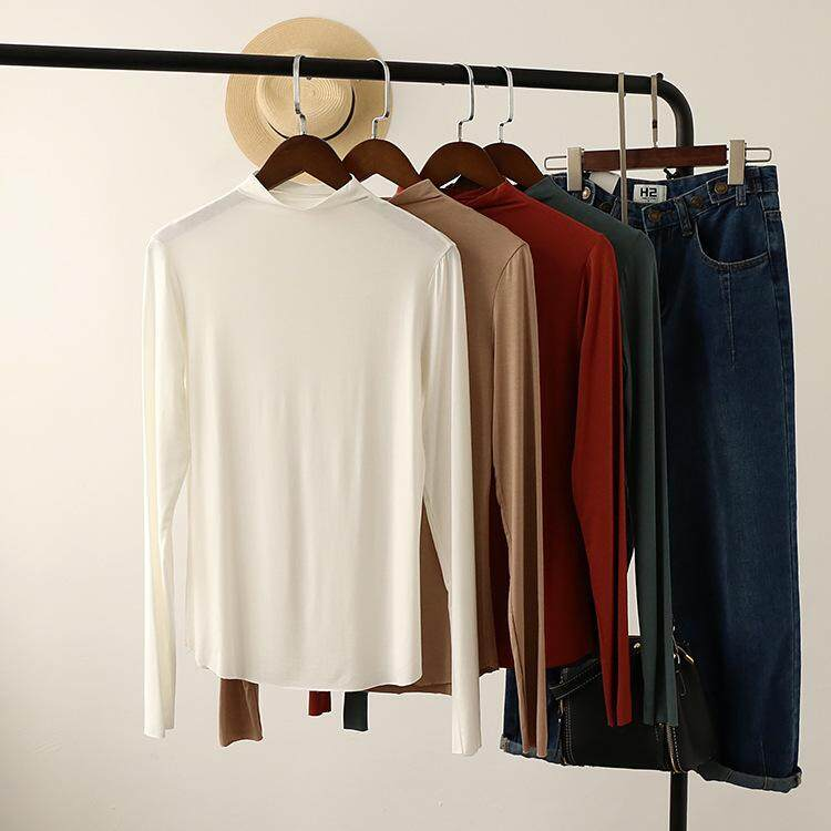 0f655a27 2019 New Korean Women's clothing foundation Modell base without side long  sleeve bottom shirt T-