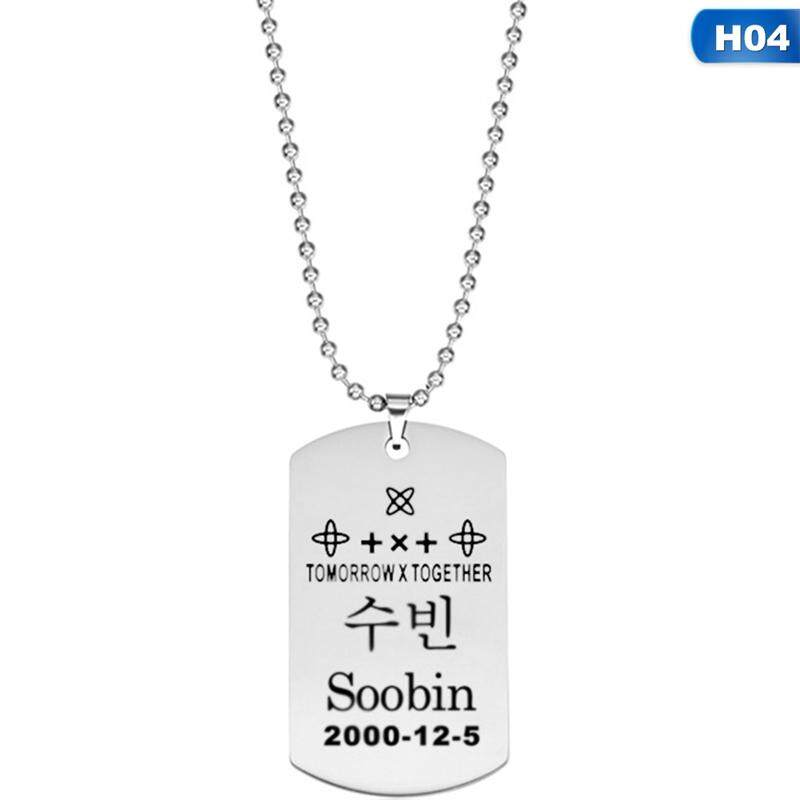 dd81e04fa MeiYang TOMORROW X TOGETHER TXT Stainless Steel Silver Color Pendant  Necklace Brand Alphabet Chain Necklace Friendship
