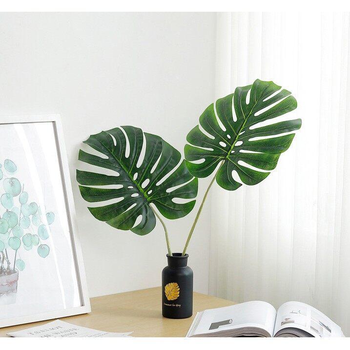 Trang Trí Văn Phòng Làm Việc Cây Giả Mini Hoa Lá Giả Giống Như Thật Lá Monstera/Kích Thước Trung Bình