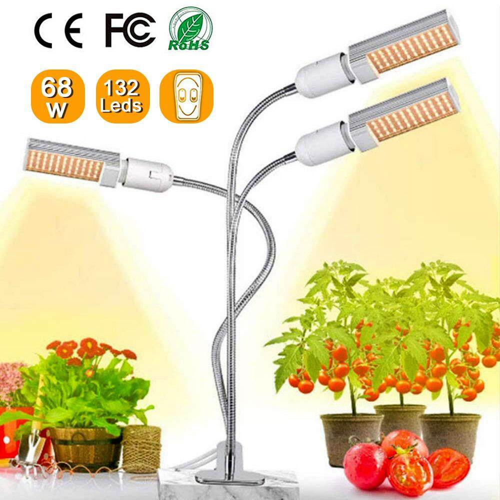 68W Timing LED Grow Light 5 Dimmable Levels Full Spectrum Growing Lamp with Triple Head 132 Leds Gooseneck for Indoor Plants