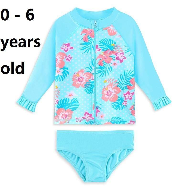 e8c83e010 0-6 years old size girls fashion girls cyan swimwear Short Sleeve two-piece