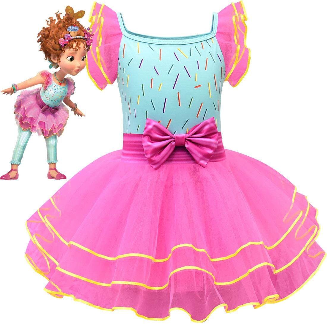 New Fancy Nancy Cosplay Cartoon Ruffle Dress Toddle Girls Ballet Performance