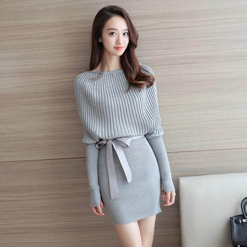 Womens 2 Piece Long Sleeve Hips Loose Sweater Skirt Knit Dress By Sara King Srote.