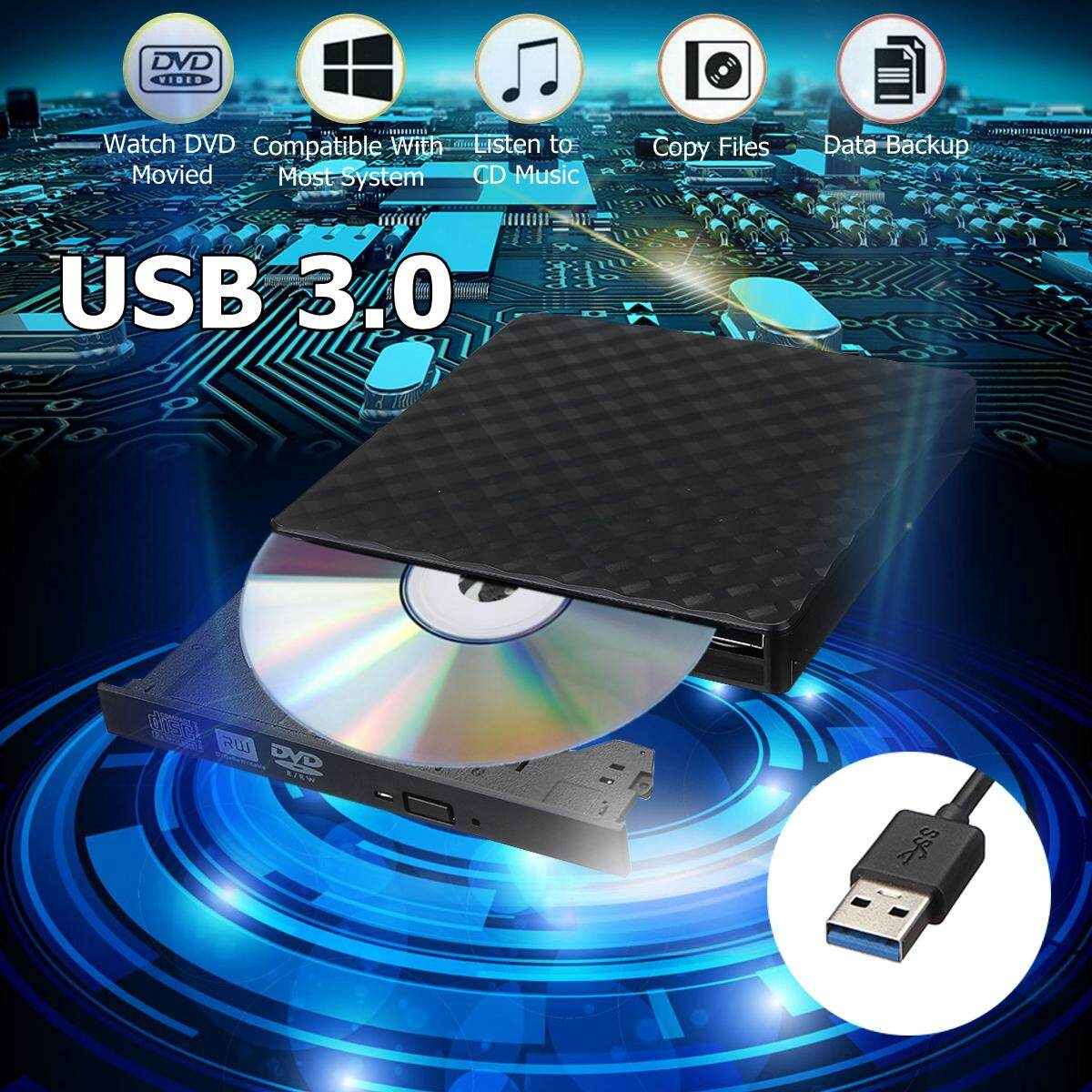 【Free Shipping + Flash Deal】External USB3.0 DVD RW CD Writer Slim Drive Burner Reader Player For PC Laptop