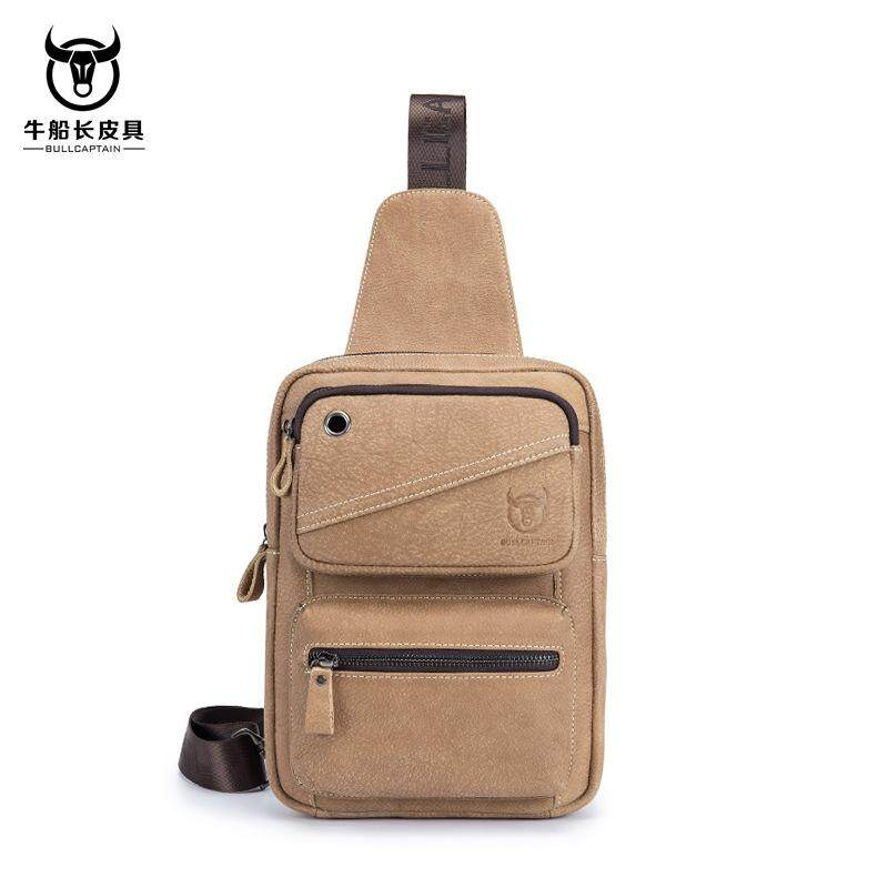 665baa163ca8 BULL CAPTAIN Fashion Genuine Leather Crossbody Bags men Brand Small Male  Shoulder Bag casual music chest