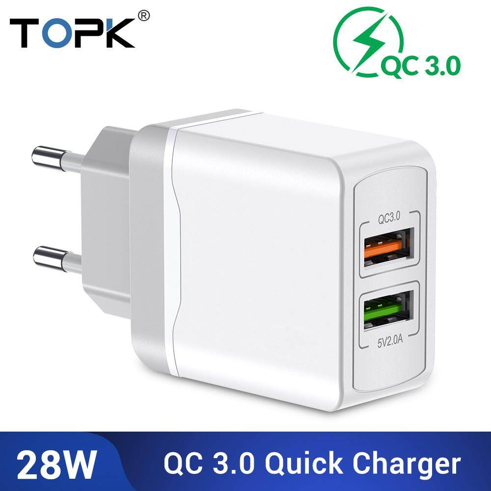 TOPK B244 Quick Charge 3.0 28W QC 3.0 Dual USB Charger Adapter EU Plug Travel Wall