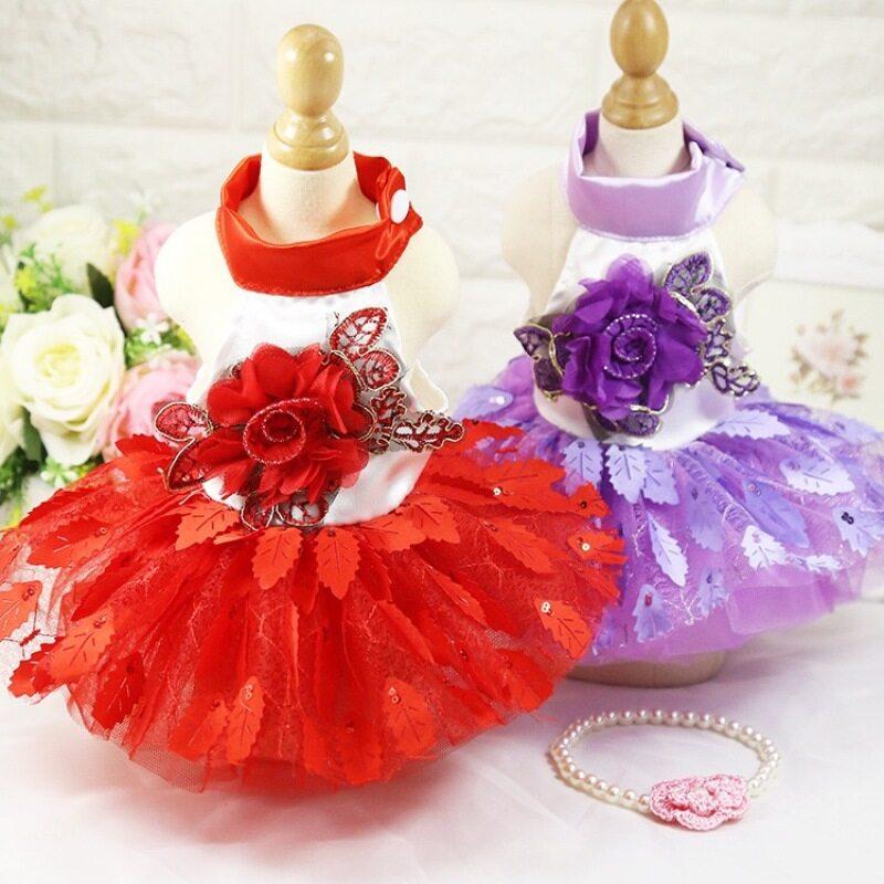 Jianjia28 2 Màu Sắc Thời Trang O Cổ Với Botton 3D Hoa Thêu Lá Váy Tutu Chăn Thả Váy Cho Chó Và Mèo