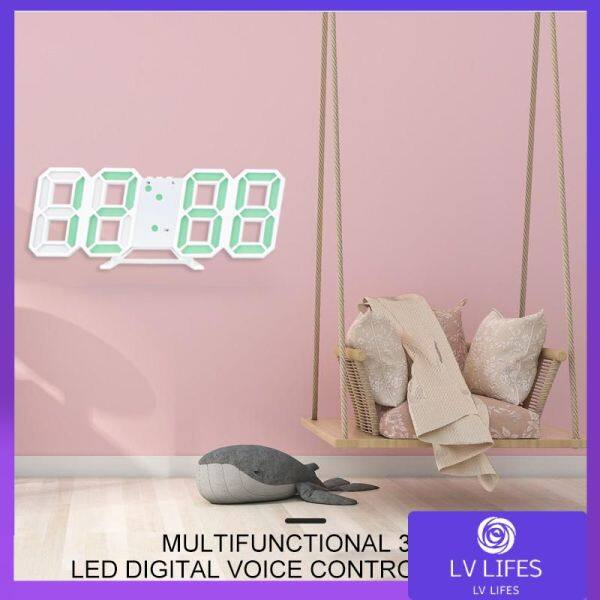 Nơi bán 3D Stereo Đồng Hồ Báo Thức Đèn LED Lịch Nhiệt Kế Đồng Hồ Điện Tử Treo Tường Kỹ Thuật Số Đồng Hồ Báo Lại Loud Nhà Món Quà Trang Trí Bàn