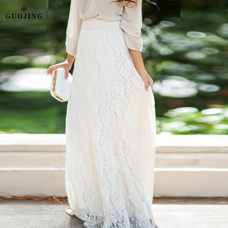 Giá bán Quách Fashion【cod】 Thời Trang Nữ Mùa Hè Ren Xếp Tầng Váy Maxi Một Dòng Đời Boho Cao Cấp Váy Dài Còn Hàng
