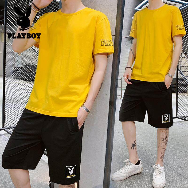 fe27bd3512 Play Boy Brand Fashion Casual Pants Men's Summer Thin Section Korean  Version of The Trend Five