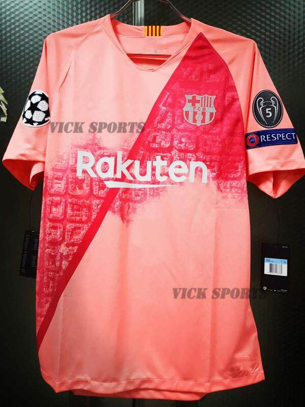 2019 Champions League Barcelona 3rd Pink Jersey With Armband Full Patch Home Football Jersey For The 2018/2019 By Vick Sports.