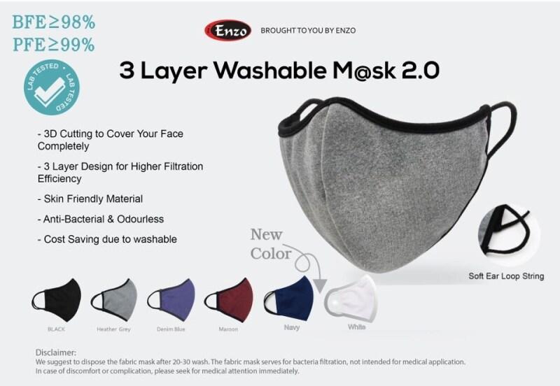 Enzo 3 Layer Washable  BFE 98%