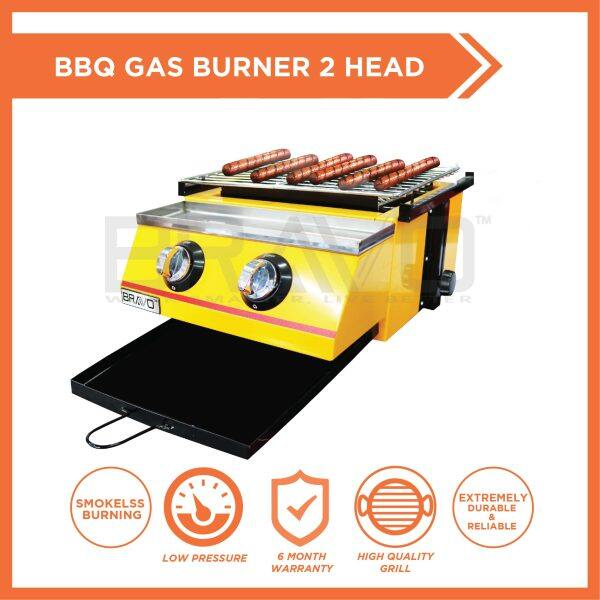BRAVO Gas 2 *SHORT SIZE*Burner Stainless Steel Quality Commercial Adjustable Height Temperature Portable Smokeless Infrared Thermal Technology Easy Cleaning Outdoor Chicken Dapur Bakar Ayam Ikan Lokcing Satay Barbecue Roasting Oven BBQ Grill Griller Stove