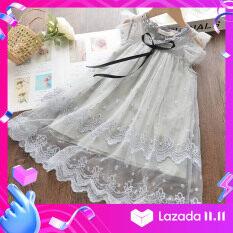 Bear Leader váy công chúa dễ thương thiết kế mới thời trang mùa hè, váy ren thêu lưới phong cách giản dị thanh lịch cho bé gái 3-7 tuổi – INTL