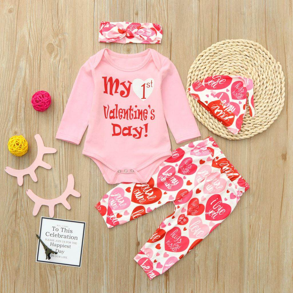 1df9da7d4 Docesty Newborn Infant Baby Boy Girl Letter Romper Tops Pants Hat Set  Valentine Outfits