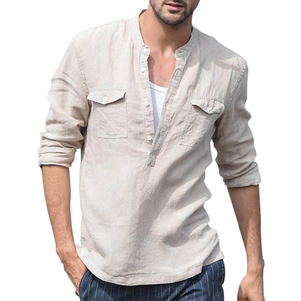 5b0721f5 New Style Fashion Men's Baggy Cotton Linen Pocket Solid Long Sleeve Retro T  Shirts Tops Blouse