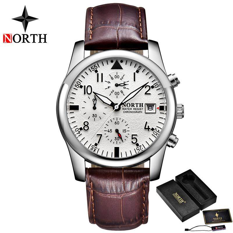 NORTH Top Luxury Brand Watch Men Fashion Quartz Sports Watch Mens Casual Leather Waterproof Business Watches Malaysia