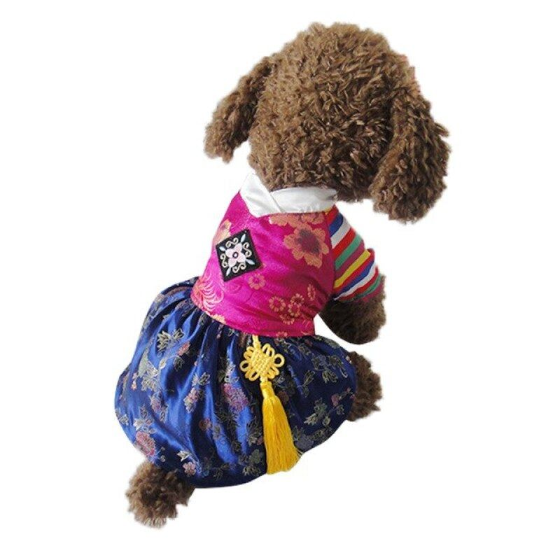 Váy Cho Chó Cưng Phong Cách Hanbok Thêu Truyền Thống Thời Trang Mới, Miễn Phí Vận Chuyển Váy Cho Chó