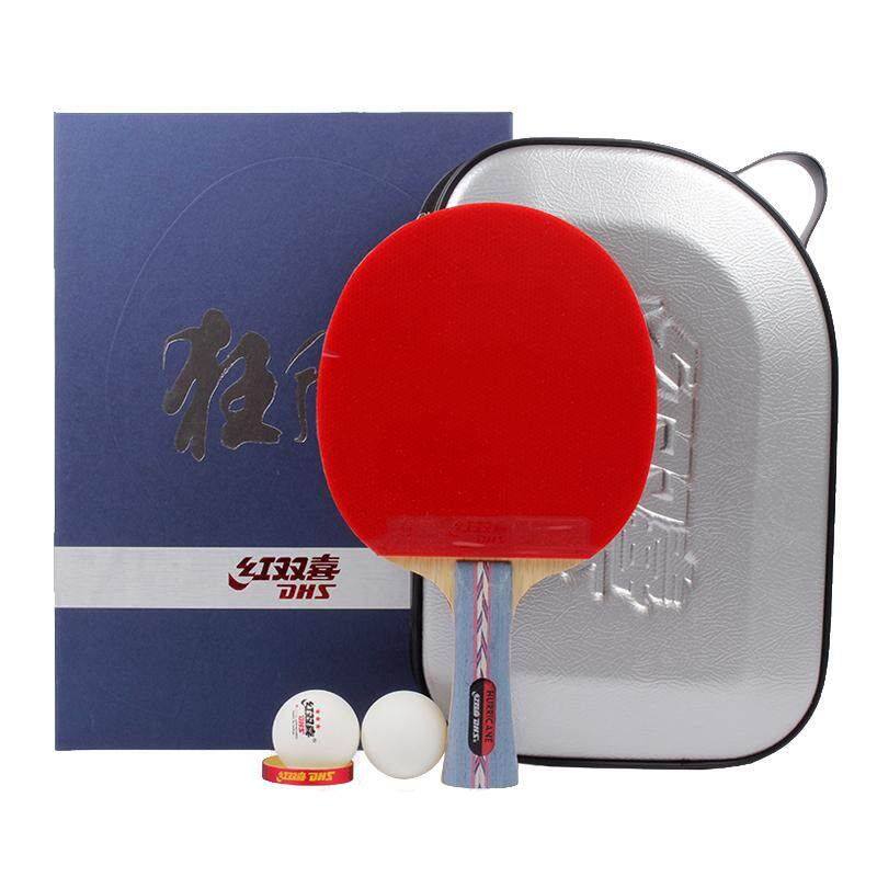 DHS NO.2 Shakehand table tennis racket bat gift suit-free DHS Three Star table tennis ball and One YINHE Sponge One Bat Bag(Random)