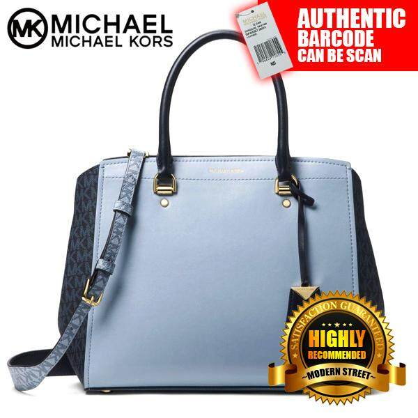 5cafad423b7e [NWT] Michael Kors 30T8GN4S3V Benning Large Leather And Logo Satchel  (PLBLUE ADMRL)