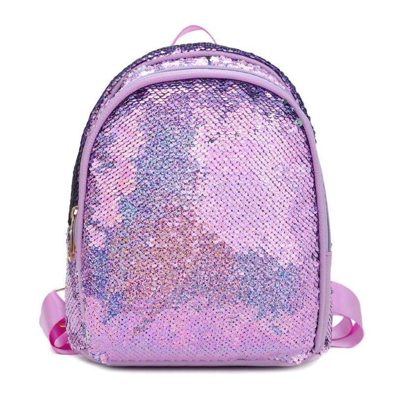 Solid Color Sequin Travel Backpacks Preppy Women Small Shoulder School Bags