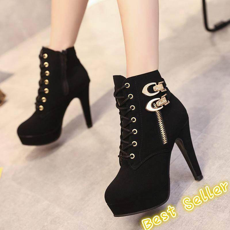 7582cf56d5af Super high heel stiletto waterproof side zipper boots women s shoes with  large size foreign trade Martin